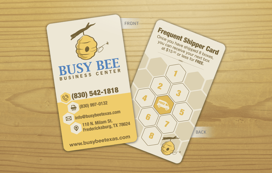 Queen b marketing company fredericksburg tx busy bee for Bee business cards